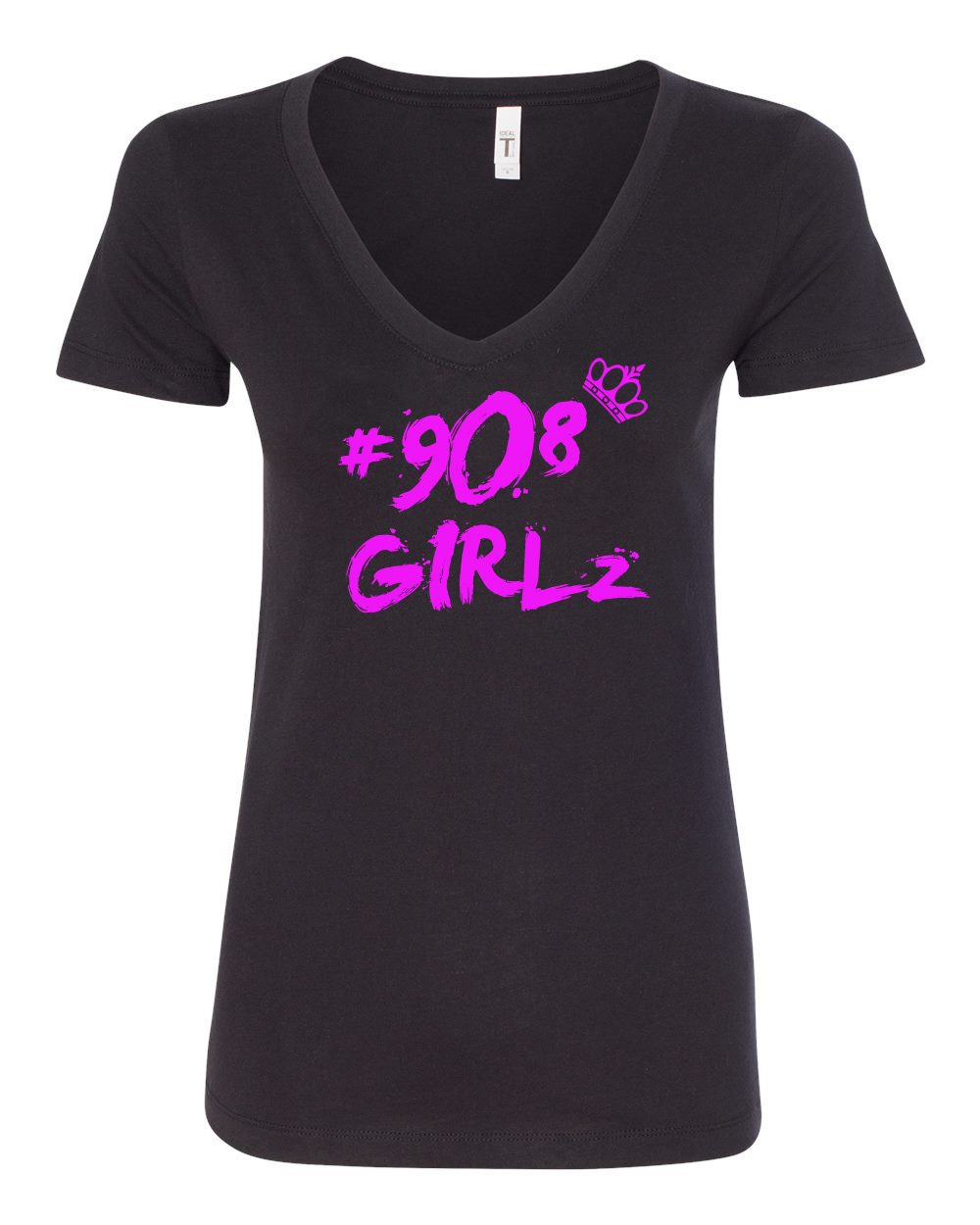 908 Girlz - (Black and pink vneck tee)
